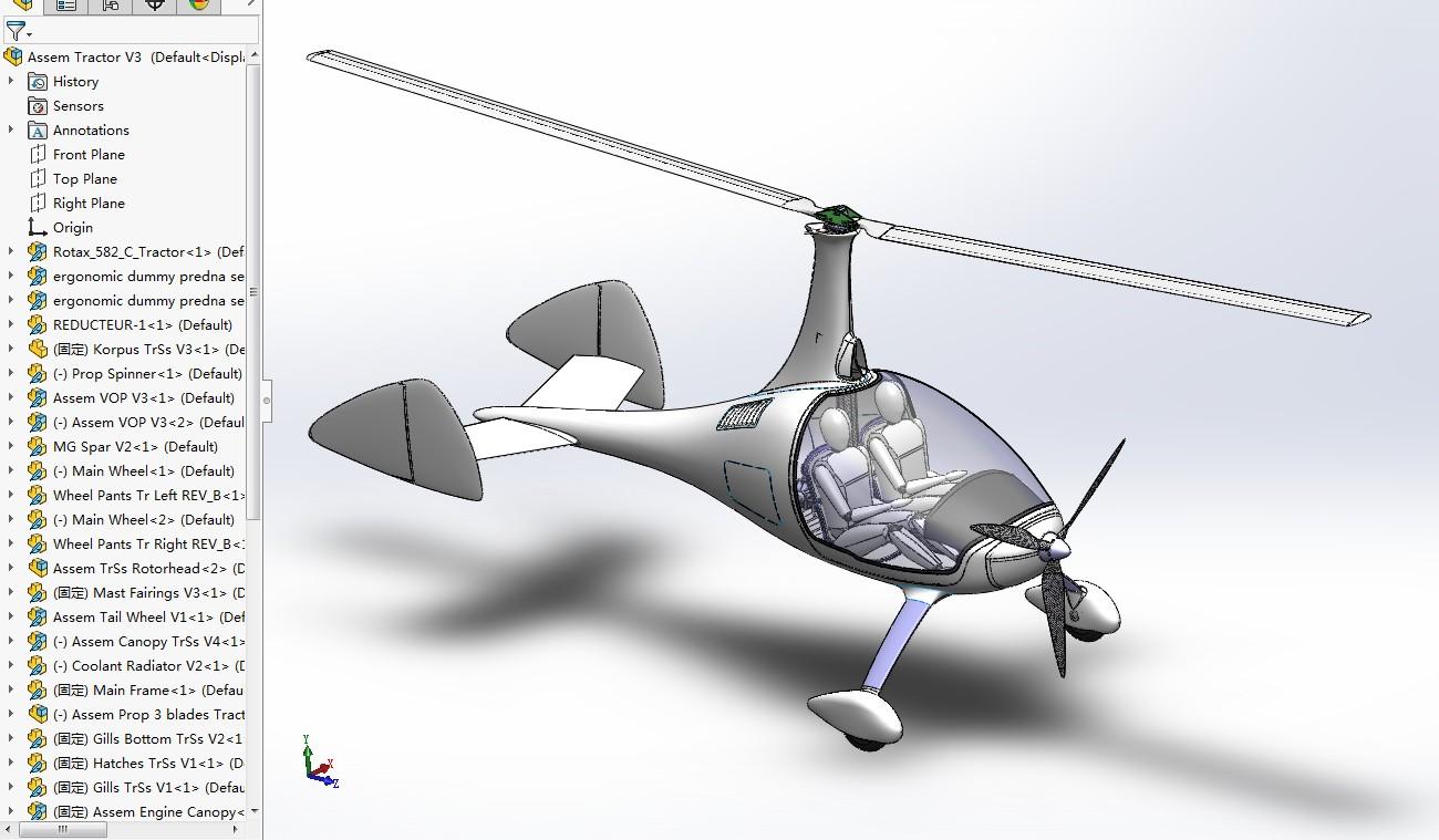 Tractor Autogyro小型私人飞机模型3D图纸 Solidworks设计