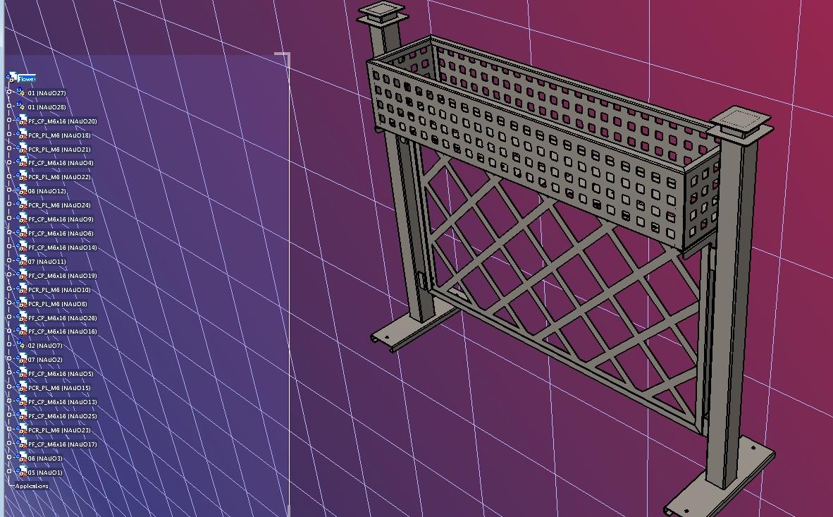 可放盆栽的花圃围栏3D数模图纸 STEP格式