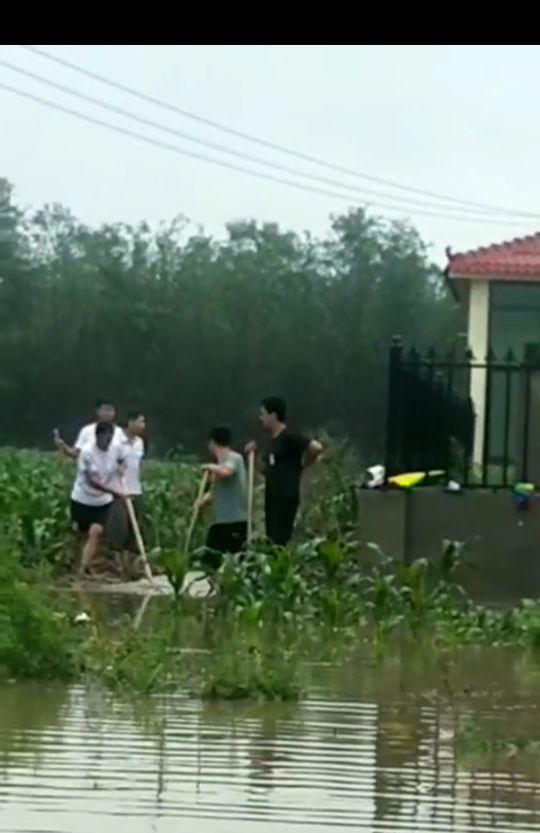 保定:暴雨中守护村民的背影