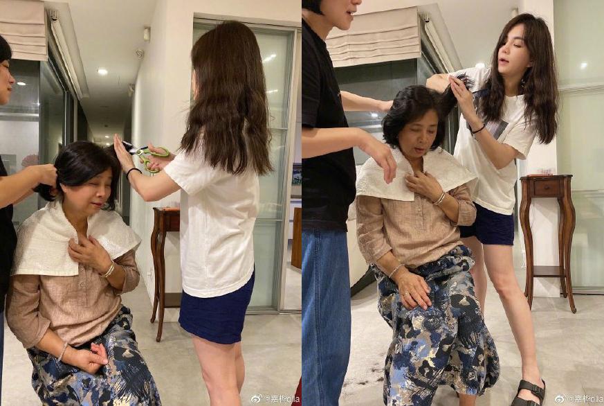 Ella搞怪給媽媽剪頭髮,表情認真專業,這身材美貌真吸睛了