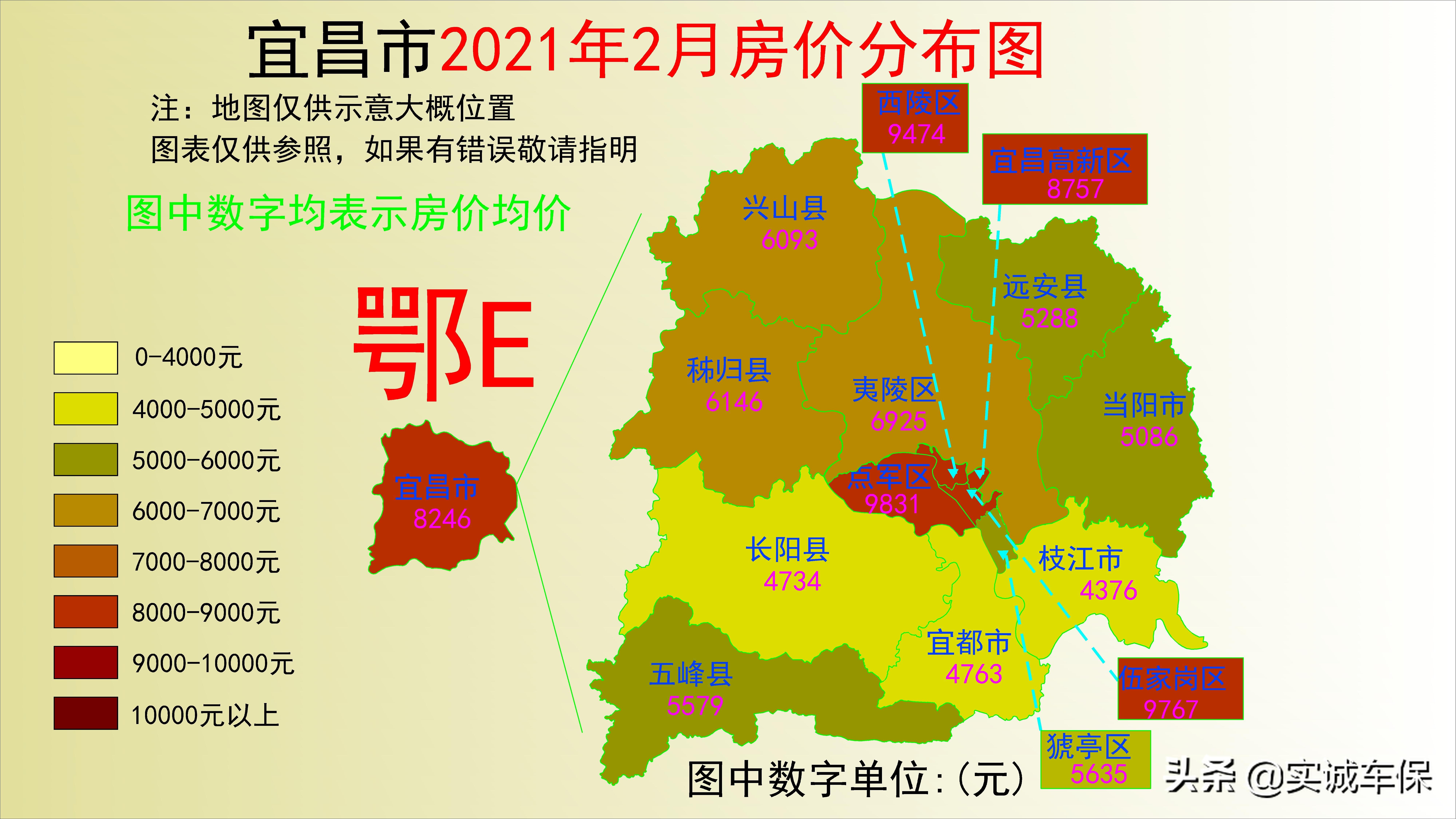 湖北17个市州2021年2月房价分布图